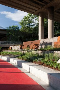 """""""Garscube Landscape Link"""" by RankinFraser Landscape Architecture and 7N Architects, Garscube Road, Glasgow, Scotland #pedestrian #red #place_making"""