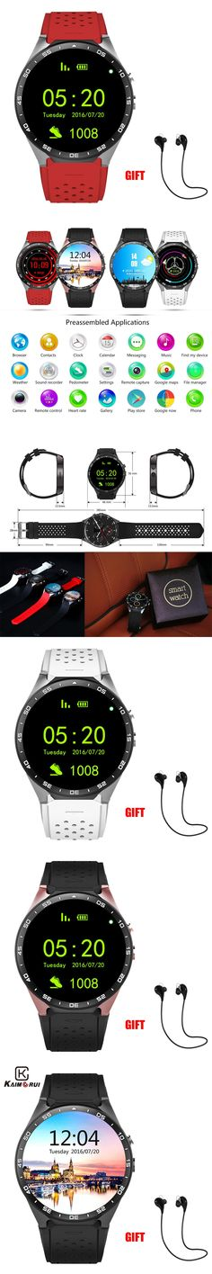 Kaimorui KW88 Bluetooth Smart Watch Android 5.1 OS 1.39' Amoled Screen 3G wifi Wireless Smartwatch Phone+Bluetooth earphone