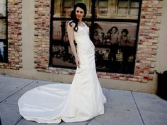 One of a Kind Designer Wedding Dress  - Alencon Alencon Lace overlays ivory bridal satin, keyhole back, mermaid shape, and full train by darlingdovebridal, $900.00