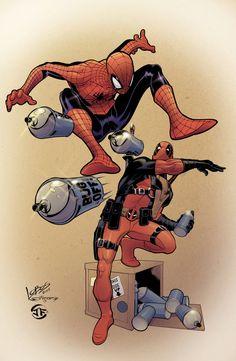 #Deadpool #Fan #Art. (Deadpool/Spiderman print) By: Htownfan13. ÅWESOMENESS!!!™ ÅÅÅ+ 3. 0.