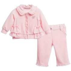 Baby Girls Pink Tracksuit with Frills, Miss Blumarine, Girl