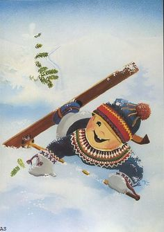 Kaarina Toivanen ~ Skier Down Winter Illustration, Christmas Illustration, Illustration Art, Photo Postcards, Vintage Postcards, Christmas Canvas, Funny Drawings, Christmas Time Is Here, Vintage Christmas Cards