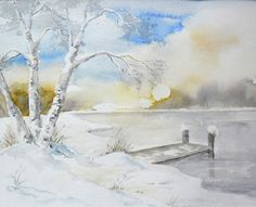 Winter am See - Aquarell / Watercolor - 24 x 32 cm