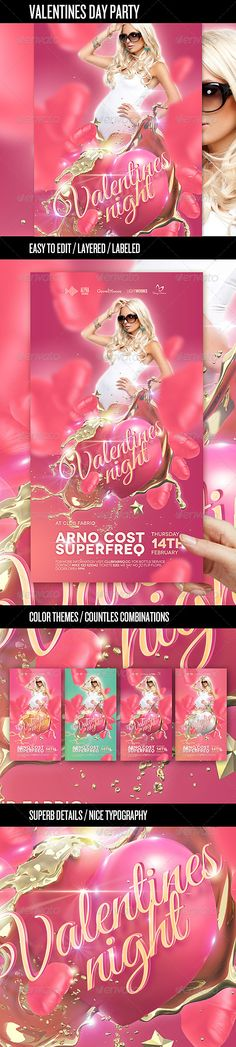 Valentine's Day Party Flyer Template  #GraphicRiver         High quality, high standard Valentine's Day party flyer for your Valentines Day event. The flyer comes with several options that you can use and easily create loads of color variations. Crisp and clean design combined with candy colored graphics is guaranteed to catch your eye.                                           Created: 28January13 GraphicsFilesIncluded: PhotoshopPSD Layered: Yes MinimumAdobeCSVersion: CS2 PrintDimensions…