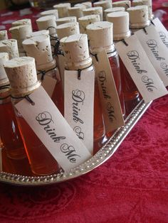 Party Favors for a Mad Hatter Tea Party - Mini corked bottles filled with iced tea!