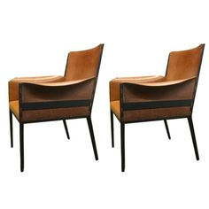 Pair  French Jean Michel Frank 1940's Style Chairs. | From a unique collection of antique and modern armchairs at https://www.1stdibs.com/furniture/seating/armchairs/
