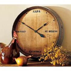 napa valley wine barrel clock its always time for wine wine clocks arched napa valley wine barrel table