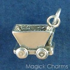 Sterling Silver .925 ORE CART Coal MINER Mining 3D Charm