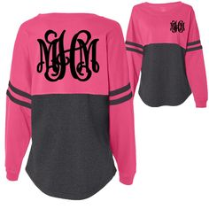 Monogrammed Hot Pink and Charcoal Pom Pom Pullover Jersey