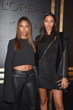 Jasmine Tookes and Lais Ribeiro at L'Oreal' Gold Obsession party October 2, 2016