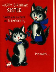 Vintage Birthday Card Kittens Cats Sisters