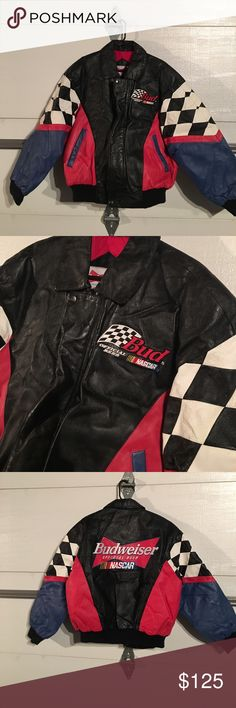 official Budweiser NASCAR leather jacket Special edition  Budweiser NASCAR leather jacket zip front with two snaps two outside pockets one inside inside logo soft material with Budweiser logo awesome jacket to have  Budweiser NASCAR Jackets & Coats