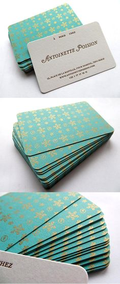 Beautiful Antique Wallpaper Inspired Letterpress Business Card