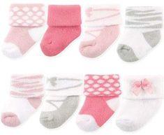 Luvable Friends 8-Pack Basic Cuff Socks in Ballet Pink #babygirl, #promotion