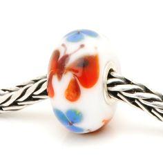 TBU3982R trollbeads Unique/OOAK glass bead (trollbeadsheaven) #butterfly #rare #orange #white #blue