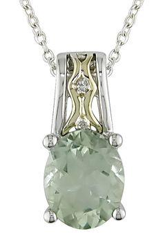 Two-Tone Green Amethyst & Diamond Pendant Necklace on HauteLook