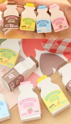 Cute milk bottle shaped eraser