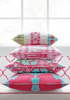 Pink Group from Trade Routes Collection. Bottom pillow. MEDALLION PAISLEY IN PINK AND TURQUOISE
