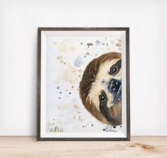 Sloth paper art print · Perfect for any room of the house! · Three sizes — 8x10, 11x14, and 16x20 inches · Reproductions of my original Acrylic painting · High quality art print · Textured fine art archival paper · Exceptional contrast and color saturation · White border for easy