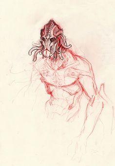 Alien sketch, Lapo Roccella on ArtStation at https://www.artstation.com/artwork/ZRP0Z