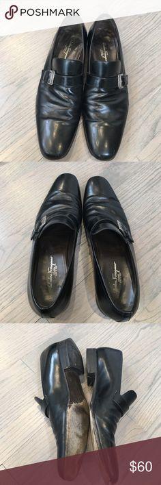 AUTHENTIC SALVATORE FERRAGAMO MENS SHOES AUTHENTIC SALVATORE FERRAGAMO MENS BLACK LEATHER SHOES SILVER HARDWARE. WORN. SIZE 91/2. Very comfortable. Salvatore Ferragamo Shoes Loafers & Slip-Ons