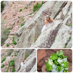 Rock Climbing Wedding Photographer: Lindsay and Ryan were married at Eldorado Canyon State Park just outside of Boulder, Colorado Rock Climbing Wedding, Climbing Girl, State Parks, Bouquet, Couple, Foods, Adventure, Bride, Food Food
