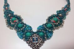 Micro Macrame Necklace Blue/Teal/Green.  V shape.  Elegant.