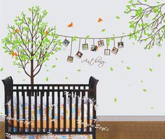 Tree with Branch photos and Flying Birds -Vinyl Wall Decal,Sticker,Nature Design baby decal nursery wall decal room decor. $95.00, via Etsy.