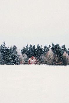 Barn house and snowy field   ♥