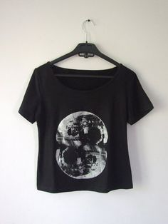 Silver Siamese Moon Screen Print Black Tshirt by lavirintArt, $30.00