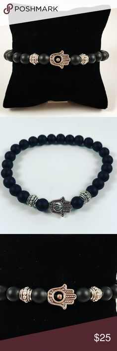 Men hamsa/hand of god & onyx beaded bracelet Men beaded bracelet. Fits most 7.5 to 8.5 inch wrist. Handmade by me , never worn by anyone. Made with black onyx and tibetan silver Hamsa / Hand of god / Fatima's hand charm. I ship fast!!✈️ Bundle and save! ( 10 % off bundles) REASONABLE offers considered. Any questions let me know! NO PAYPAL ! Accessories Jewelry
