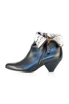 """Black booties with a foldable leg upper that reveals an animal print in white and grey. Pointed toe. Zipper closure. Cone heel.    Heel height: 2""""; boot shaft is 4.5""""; circumference is 8""""       Elroy Leather Heels by Emma Go. Shoes - Booties - Heeled Toronto, Canada"""