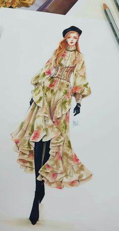 Asian Fashion, Teen Fashion, Runway Fashion, Fashion Design Drawings, Fashion Sketches, Paper Fashion, Fashion Art, Fashion Illustration Dresses, Deb Dresses