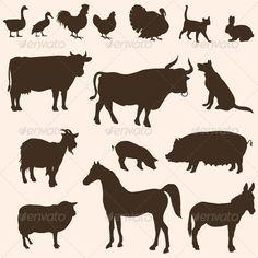 Vector Silhouettes of Farm Animals