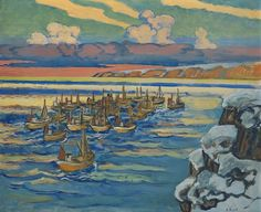 Axel Revold - The fishing fleet leaves Sailboats, Painters, Norway, Fishing, Leaves, Image, Art, Sailing Yachts, Art Background