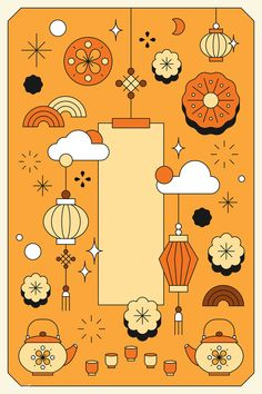 Orange Chinese Mid Autumn festival  background vector | premium image by rawpixel.com / katie
