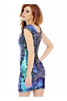 Multi Blue Tone Sequin Bodycon Dress with Cap Sleeves