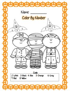 Halloween math color by number Im that kid that would color the