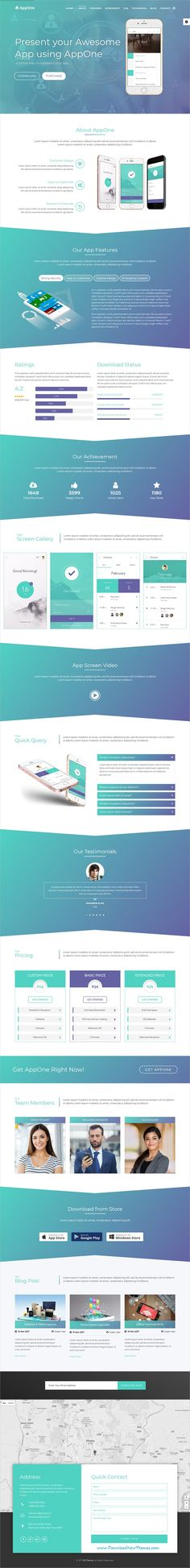 AppOne is clean and modern design responsive #Joomla template for onepage multipurpose #app landing page #website with 10 different homepage layouts to live preview & download click on Visit