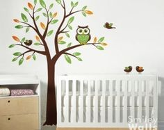 Nursery Wall Decal Birch Trees Forest Animals Kids by smileywalls