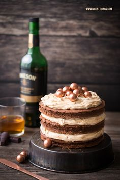Whisky Kuchen Whiskey Torte Rezept mit Schokolade und Karamell