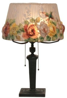 Pairpoint Puffy Hummingbird & Rose Table Lamp.