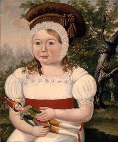 Anonyme français, Portrait d'enfant (petit garçon?)   tenant une poupée d'Arlequin, huile sur toile,  XIXe siècle, Paris, musée des Civilisations