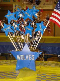 69 best Cub Scouts- Blue & Gold Banquet Ideas images on . Cub Scouts Wolf, Tiger Scouts, Cub Scout Crafts, Cub Scout Activities, Scout Mom, Girl Scouts, Cub Scout Popcorn, Banquet Centerpieces, Centerpiece Ideas