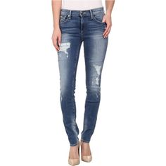 True Religion Mid Rise Halle Distressed in Dusty Bleachers Women's... ($188) ❤ liked on Polyvore featuring jeans, blue, destructed skinny jeans, super ripped skinny jeans, torn skinny jeans, blue skinny jeans and super skinny jeans