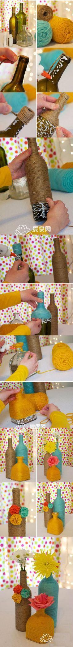 Seguro que reciclas el vidrio. ¿Qué tal si le das una segunda vida y creas jarrones con botellas vacías?