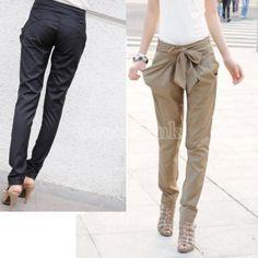 Sexy Women Fashion Harem Skinny Long Trousers OL Casual Slim Bow Pants