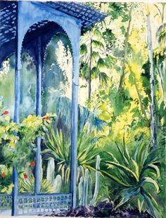 Maroc - Balcon bleu Majorelle - Peinture ©2000 par Catherine Rossi -