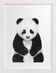 """Baby Panda"" - Kids Open Edition Non-custom Art Print by Cass Loh. Kids Canvas Art, Canvas Art Prints, Canvas Frame, Wood Canvas, Kids Wall Decor, Art Wall Kids, Art For Kids, Room Decor, Room Art"