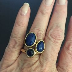 Stack rings These are pre loved, set of three rings with faux blue stones. Wear one or all three. Sz 7 Jewelry Rings